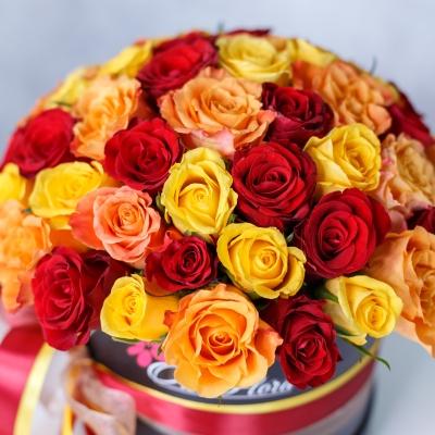 Trandafiri Mix Orange în Cutie