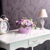 Cutie Rotundă Mov cu Flori Mixte