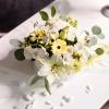Cutie Rotundă Albă cu Flori Mixte