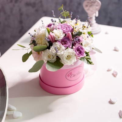 Cutie Mică Roz cu Flori Mixte