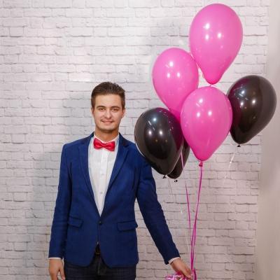 5 Baloane roz si negru cu heliu
