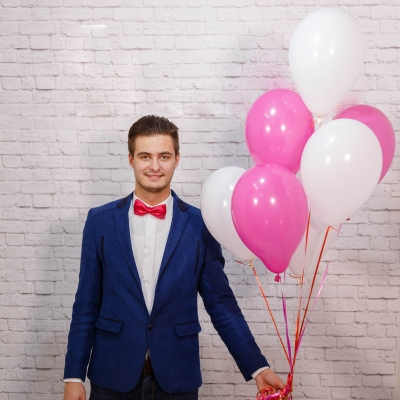 5 Baloane alb roz cu heliu