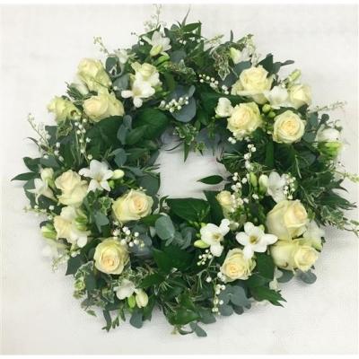 Coroana funerara albă -verde
