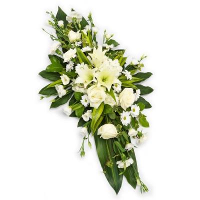Aranjament funerar elegant alb