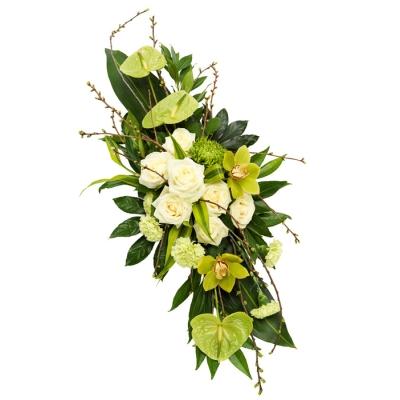 Aranjament funerar din trandafiri și orhidee