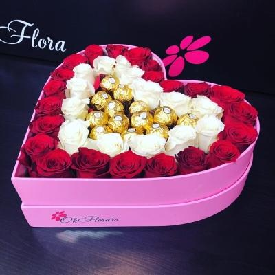 Inimă Roșu/Alb și Ferrero Rocher