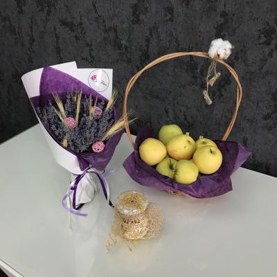 Buchet levănțică, Coș Mere, Borcan Miere