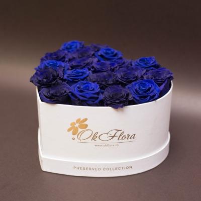 17 Trandafiri Criogenați Albaștri în Inimă Albă