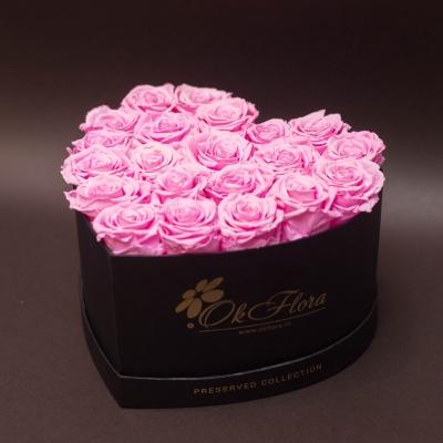 17 Trandafiri Criogenați Roz în Inimă Neagră
