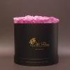 17 Trandafiri Criogenați Roz în Cutie de Lux Mare Neagră