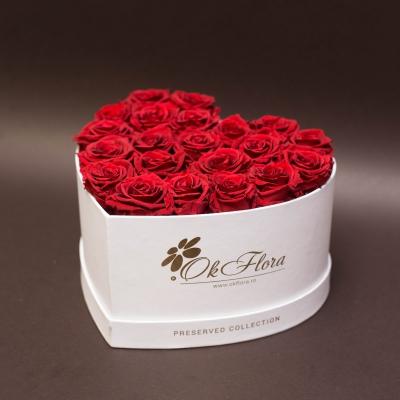 17 Trandafiri Criogenați Roșii în Inimă Albă