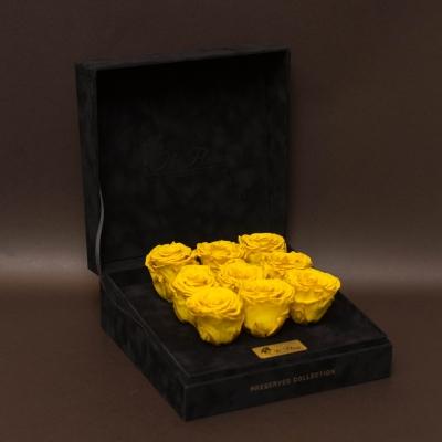 9 Trandafiri Criogenați Galbeni în Cutie de Catifea