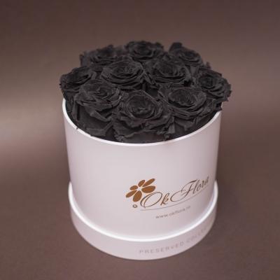 9 Trandafiri Criogenați Negri în Cutie de Lux Mică Albă