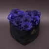 9 Trandafiri Criogenați Albaștri în Inimă de Catifea