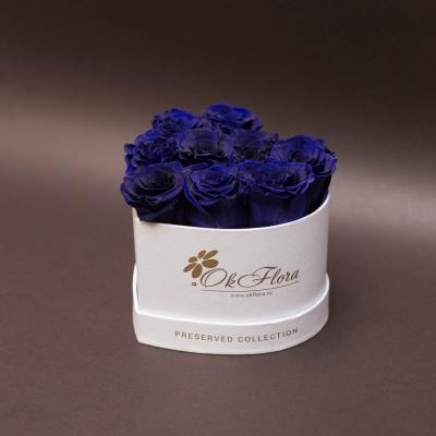 9 Trandafiri Criogenați Albaștri în Inimă Albă