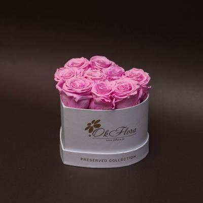 9 Trandafiri Criogenați Roz în Inimă Albă