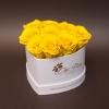 9 Trandafiri Criogenați Galbeni în Inimă Albă