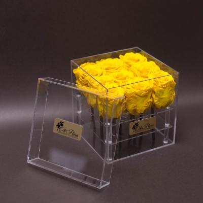 9 Trandafiri Criogenați Galbeni în Cutie Acrilică