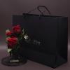 9 Trandafiri Criogenați Roz în Cutie de Lux Mică Neagră