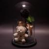 Trandafir Criogenat Negru și Ursuleț în Cupolă