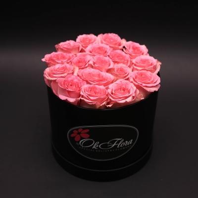 Cutie Medie Neagră cu Trandafiri Roz