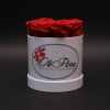 Cutie Mică Albă cu Trandafiri Roșii
