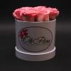 Cutie Mică Albă cu Trandafiri Roz