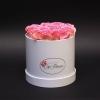 Cutie Medie Albă cu Trandafiri Roz