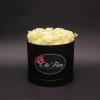 Cutie Medie Neagră cu Trandafiri Albi