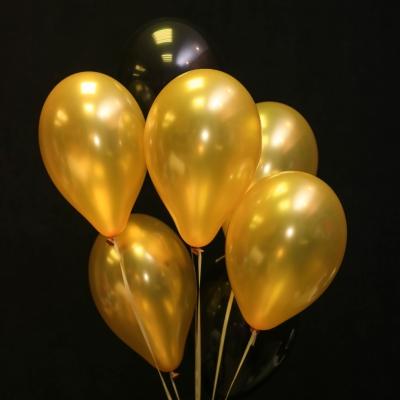 7 Baloane Negru-Auriu cu Heliu