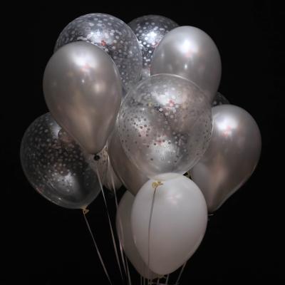 11 Baloane Alb-Argintiu-Transparent cu Heliu