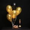 Set 7 Baloane Auriu-Negru cu Heliu, Tort Mousse și Moet Chandon