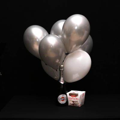 Set Asti Martini, Raffaello și 7 Baloane Alb-Argintiu