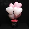 Set Cutie Medie cu Trandafiri Roz și 7 Baloane Roz