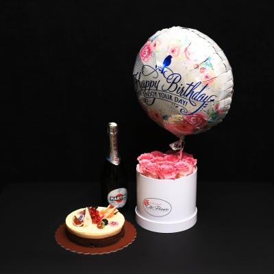 Set Cutie Medie cu Trandafiri Roz, Balon Happy Birthday, Tort Mousse și Asti Martini