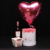 Set Cutie Medie cu Trandafiri Roz, Inimă Roz cu Heliu, Raffaello și Vin Prahova Valley