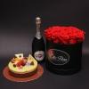 Set Cutie Medie cu Trandafiri, Tort Mousse și Asti Martini