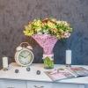 Buchet din 35 alstromerii în plasă roz